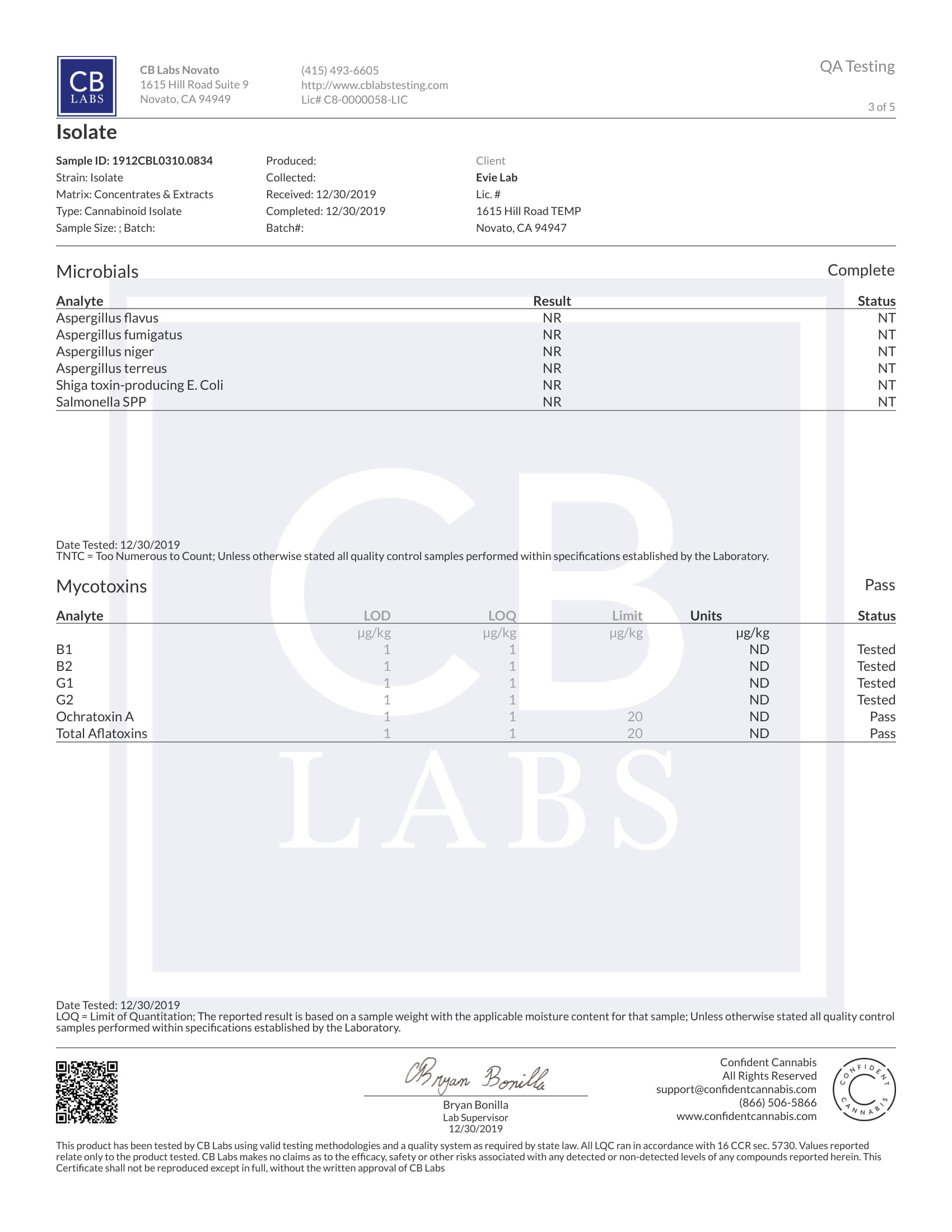 Tests Laboratoires Pure Evielab CBD 3/5