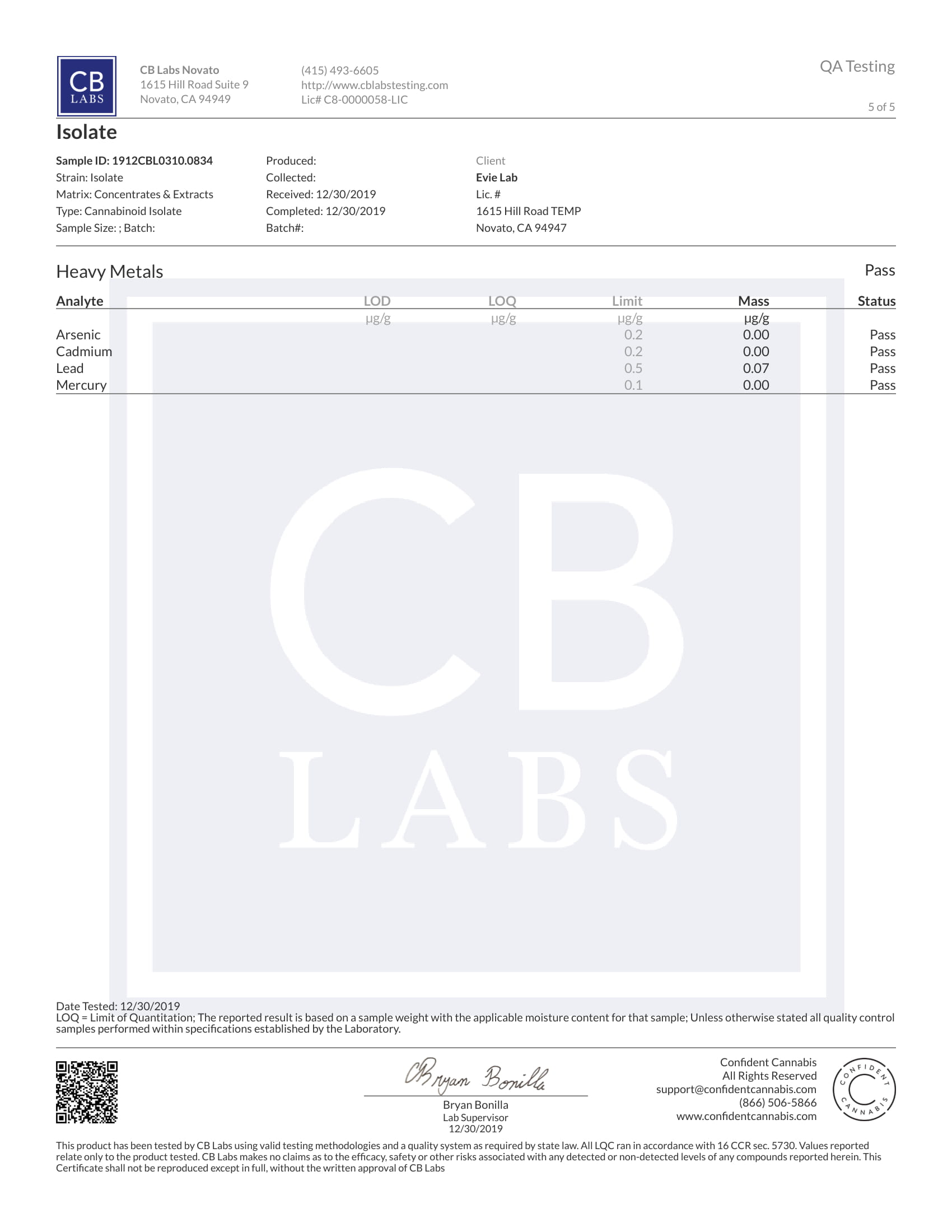 Tests Laboratoires Pure Evielab CBD 1/5