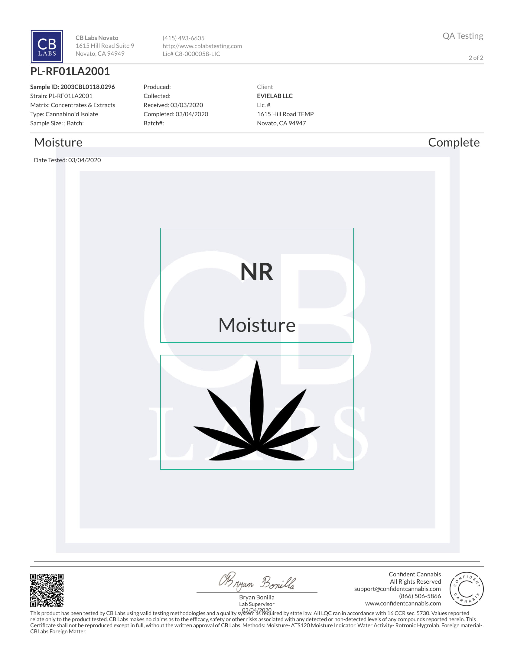 Tests Laboratoires Relief Evielab CBD 2/2